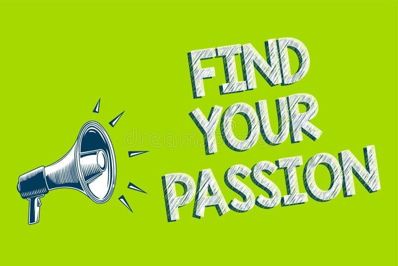 文字笔记陈列发现您的激情 企业照片陈列的寻求梦想发现最佳的工作或活动做什么您爱艺术品c 向量例证