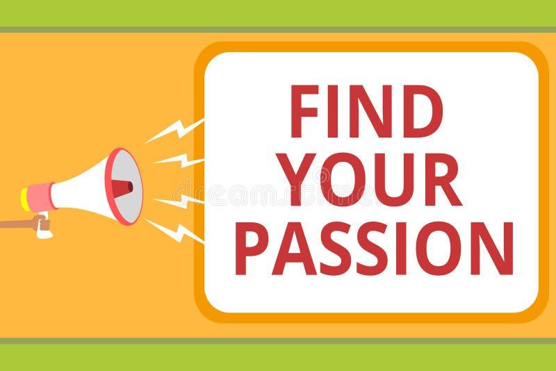 文字笔记陈列发现您的激情 企业照片陈列的寻求梦想发现最佳的工作或活动做什么您爱 向量例证