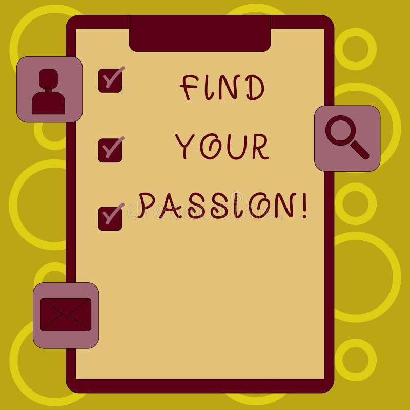 文字笔记陈列发现您的激情 陈列失业的企业照片发现复杂的梦想事业 库存例证