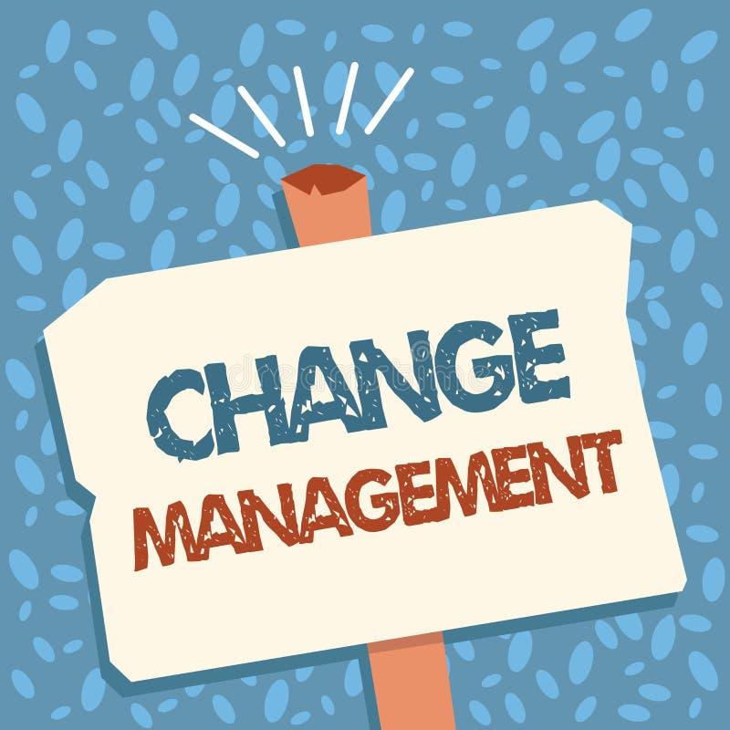 文字笔记陈列变动管理 领导的企业照片陈列的替换在组织新的政策的 向量例证
