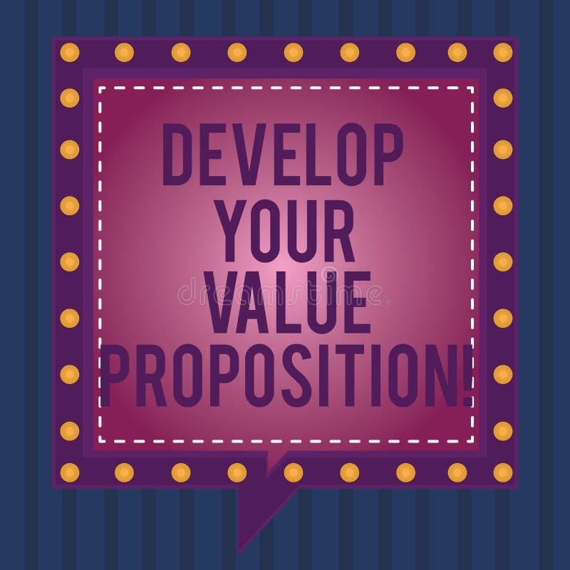文字笔记陈列开发您的价值提议 E 皇族释放例证