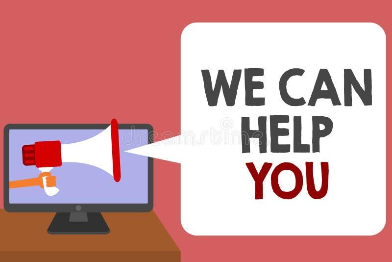 文字笔记陈列我们可以帮助您 企业照片陈列的支持协助提供的顾客服务注意人藏品 向量例证