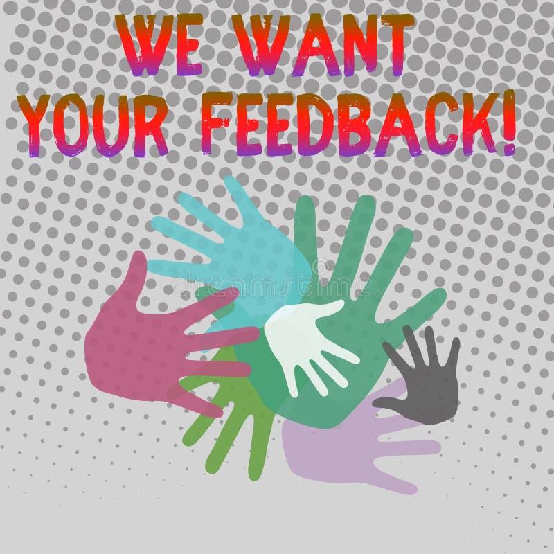 文字笔记陈列我们想要您的反馈 指定的企业照片陈列的批评某人说可以做为 库存例证