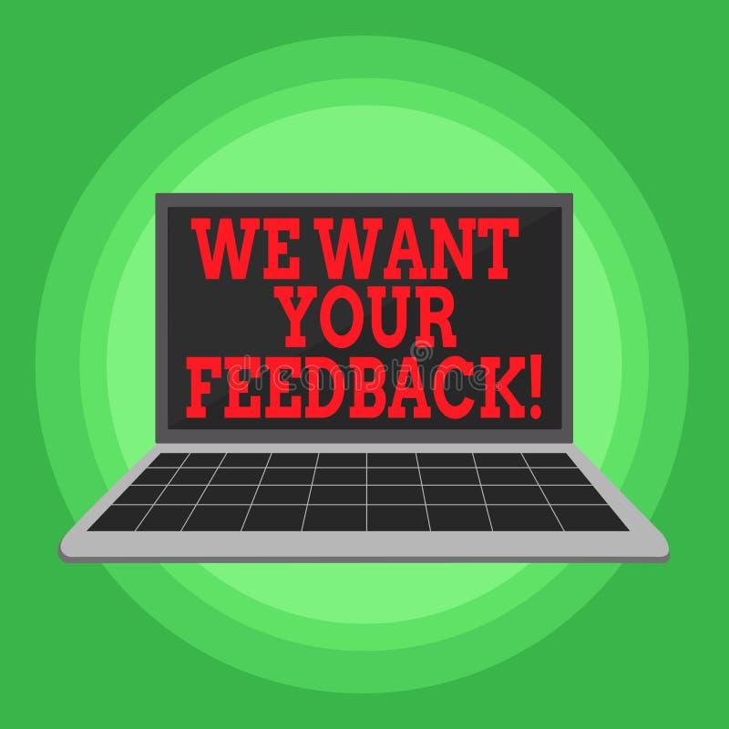 文字笔记陈列我们想要您的反馈 指定的企业照片陈列的批评某人说可以做为 向量例证