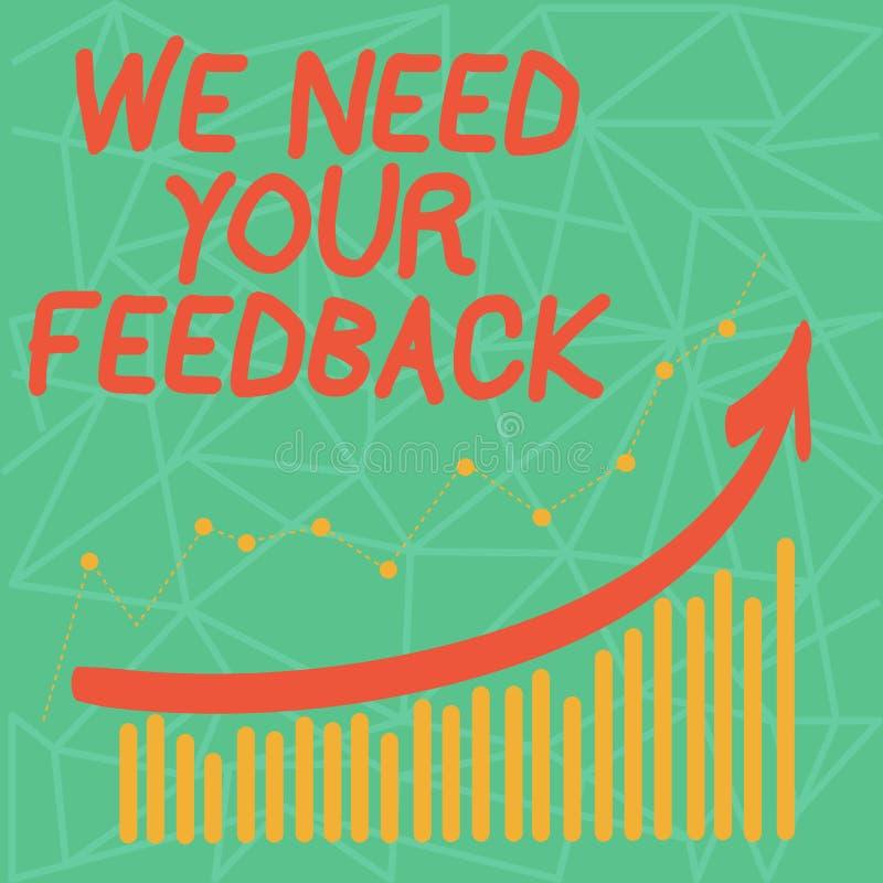 文字笔记陈列我们需要您的反馈 企业照片陈列的批评指定说可以是完成的改善 皇族释放例证