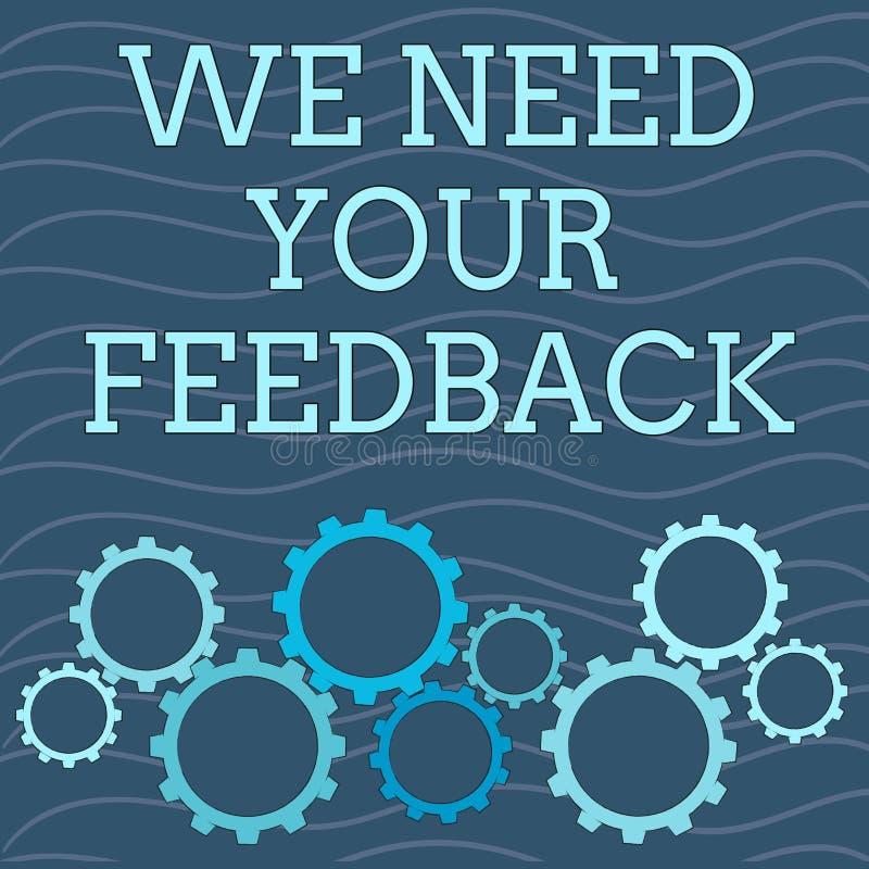 文字笔记陈列我们需要您的反馈 企业照片陈列的批评指定说可以是完成的改善 向量例证