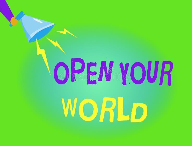 文字笔记陈列打开您的世界 企业照片陈列扩展您的头脑和思路从所有否定性 皇族释放例证