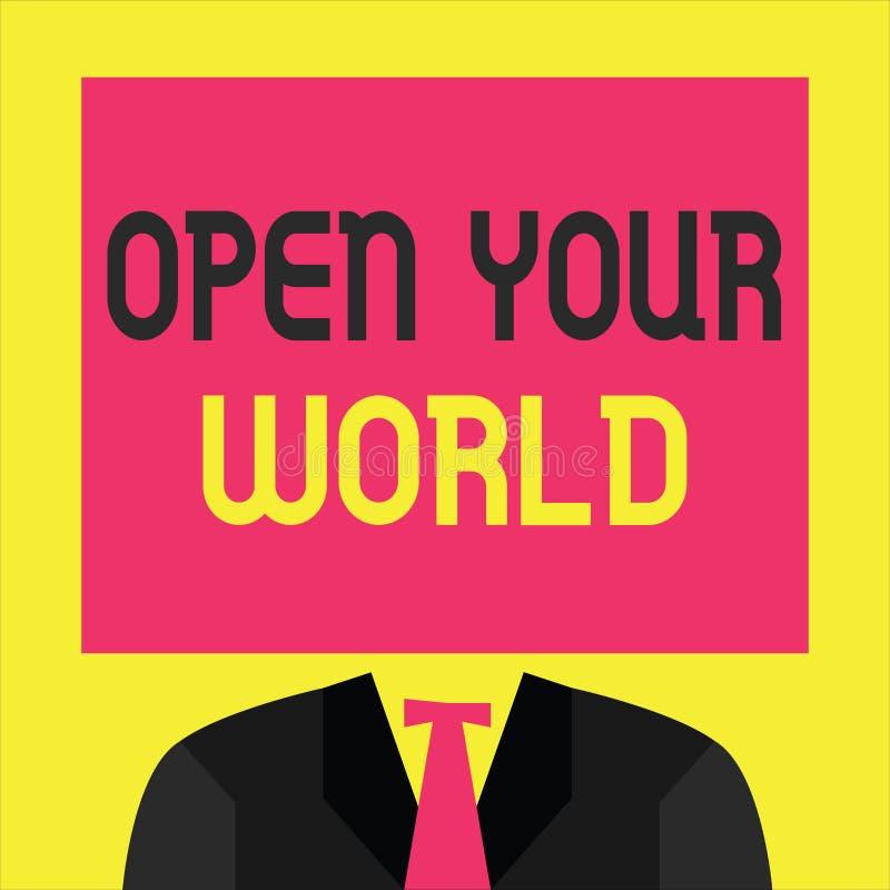 文字笔记陈列打开您的世界 企业照片陈列扩展您的头脑和思路从所有否定性 库存例证