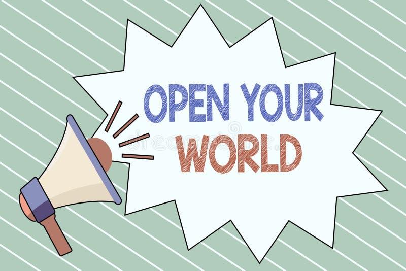 文字笔记陈列打开您的世界 企业照片陈列扩展您的头脑和思路从所有否定性 向量例证