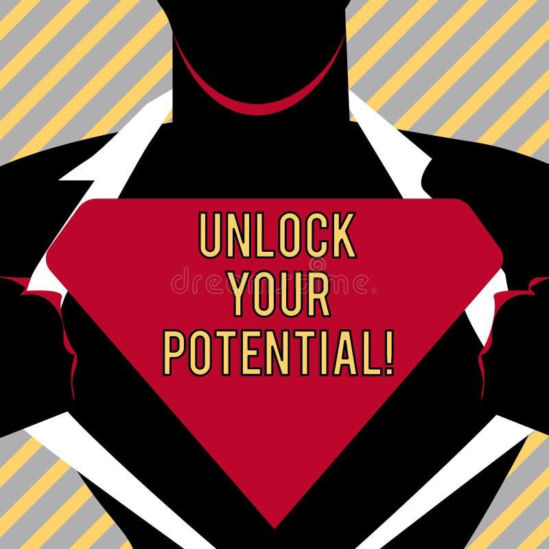 文字笔记陈列打开您的潜力 企业照片陈列显露天分培养能力显示 库存例证