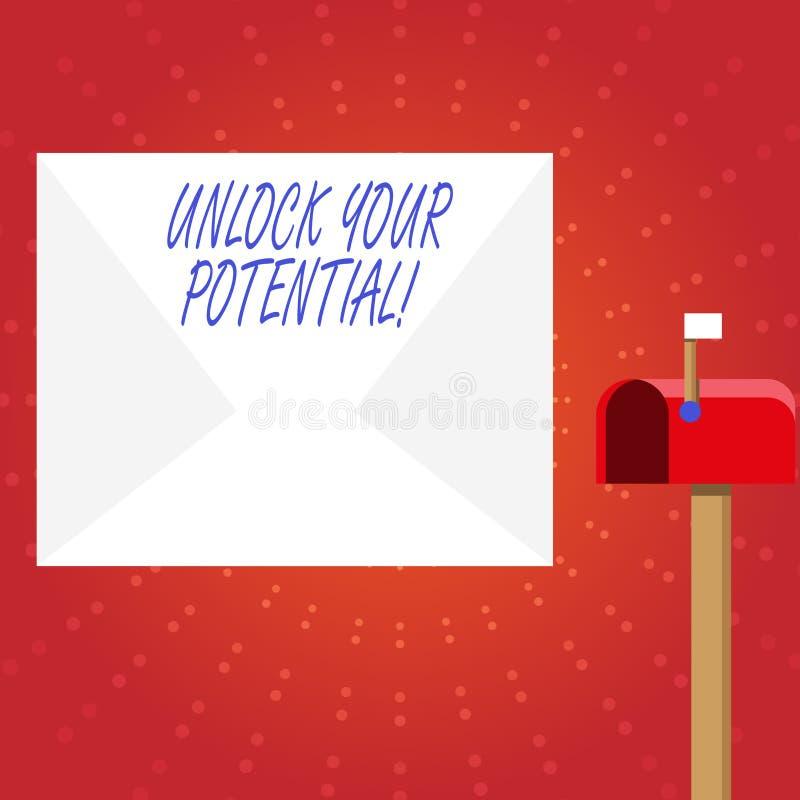 文字笔记陈列打开您的潜力 企业照片陈列的发行可能性教育和训练是 向量例证