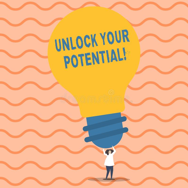 文字笔记陈列打开您的潜力 企业照片陈列的发行可能性教育和训练是 皇族释放例证