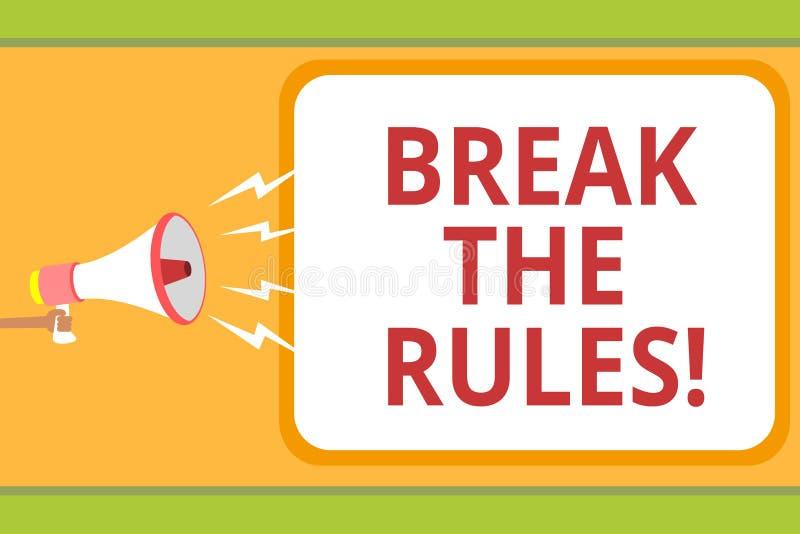 文字笔记陈列断裂规则 企业照片陈列做变动做一切另外叛乱改革消息想法 库存例证