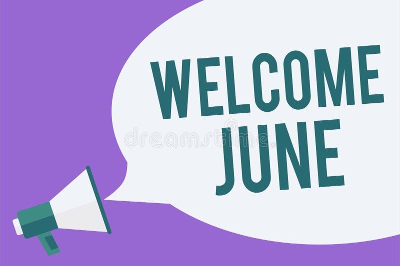 文字笔记陈列欢迎6月 企业照片陈列的日历第六个月二季度三十几天问候扩音机l 库存例证