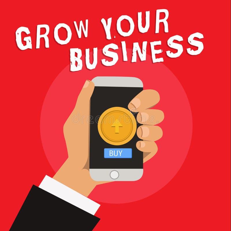 文字笔记陈列生长您的事务 企业照片陈列达到更高的赢利提供投资更好的回归  库存例证