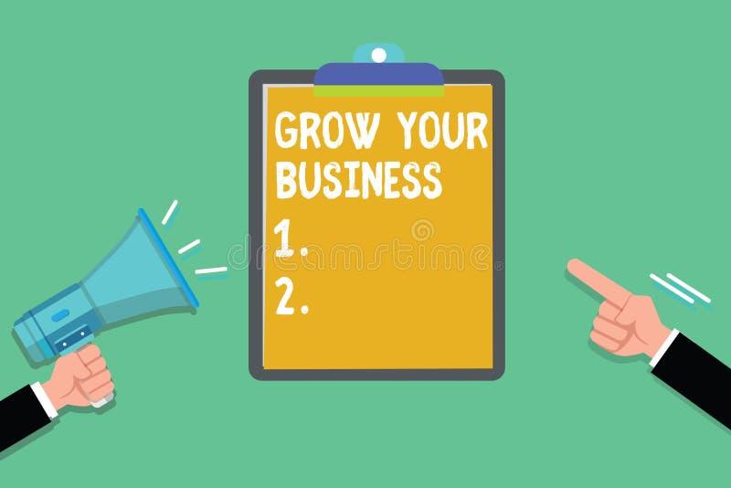 文字笔记陈列生长您的事务 企业照片陈列达到更高的赢利提供更好的回归  库存例证