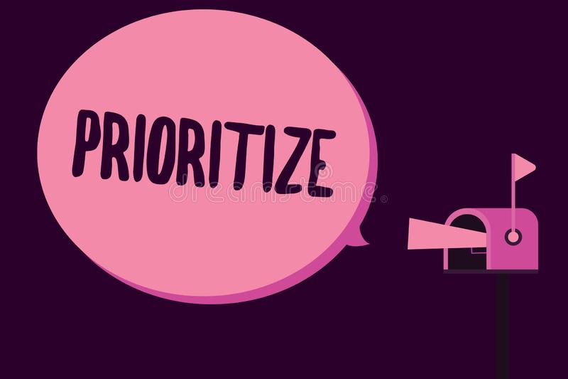 文字笔记陈列给予优先 企业照片陈列组织指定或款待某事作为是更加重要的 向量例证