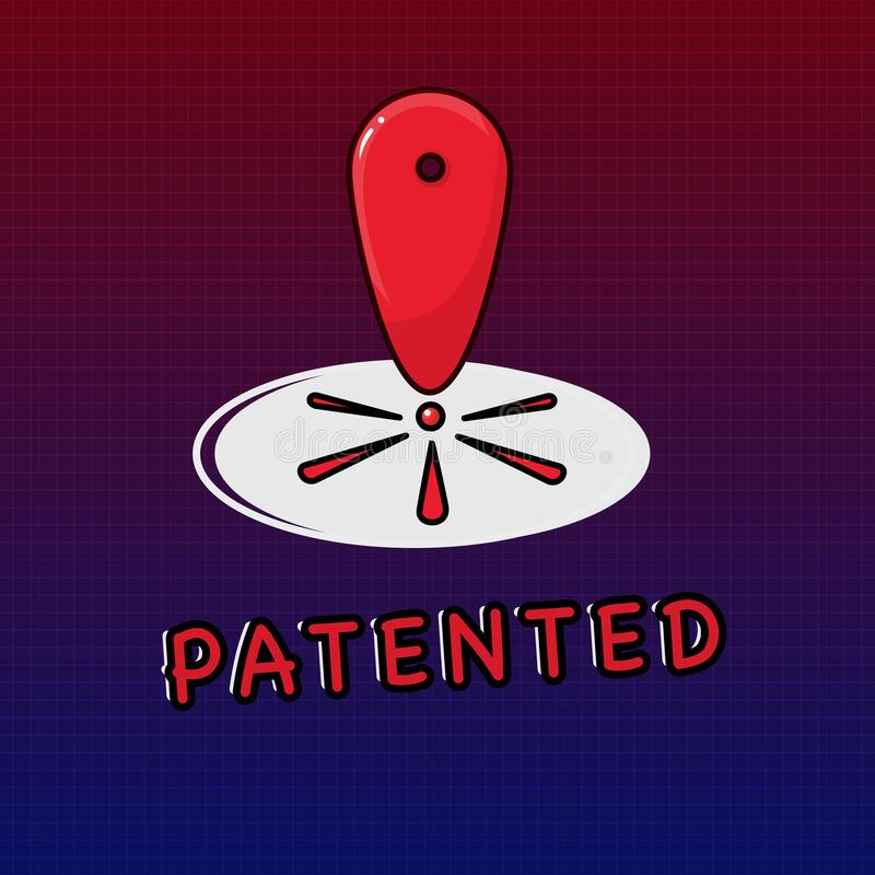 文字给予专利的笔记陈列 企业照片陈列的发明或过程保护了正确的正式文件 向量例证