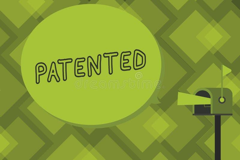 文字给予专利的笔记陈列 企业照片陈列的发明或过程保护了正确的正式文件 库存例证