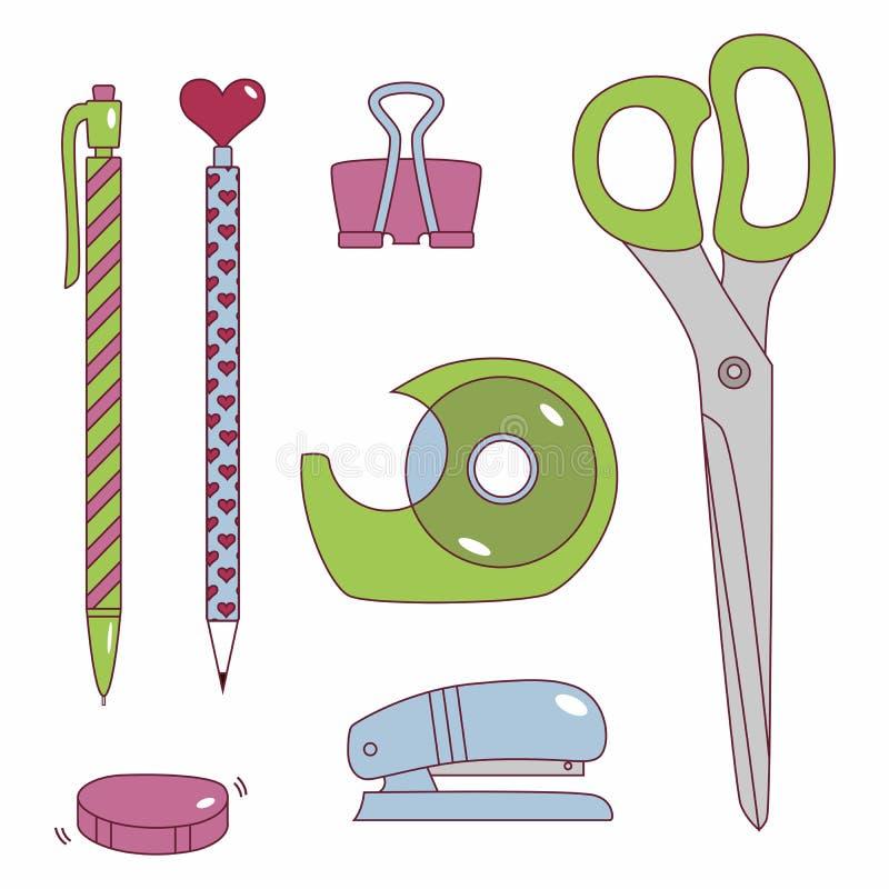 Download 文教用品 向量例证. 插画 包括有 输送管, 动画片, 样式, 文教用品, 用品, 孩子, 信函, 订书机 - 59102945