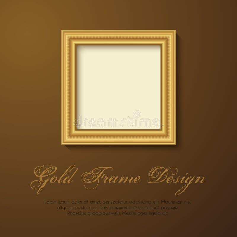 文本、图片、照片或者您的设计的金框架 库存例证