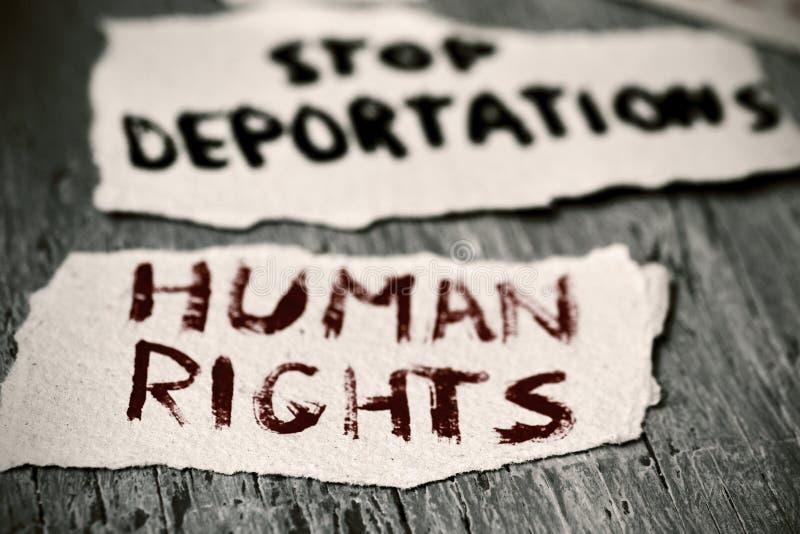 文本人权和中止驱逐出境 图库摄影