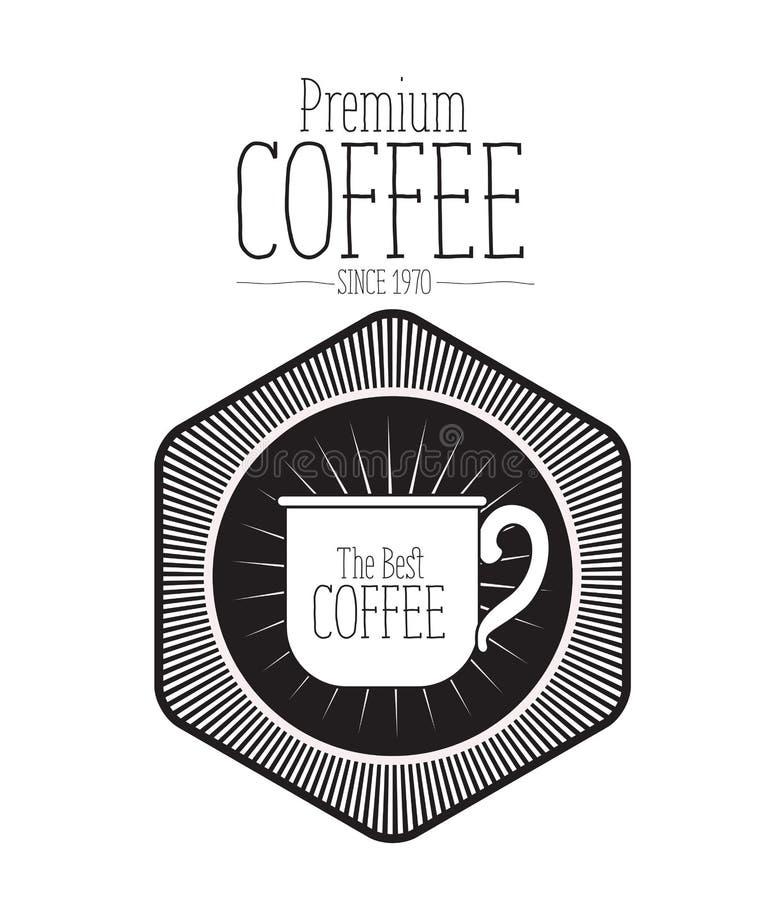 文本优质咖啡豆自1970年以来和金刚石形状装饰框架商标设计白色背景与 向量例证