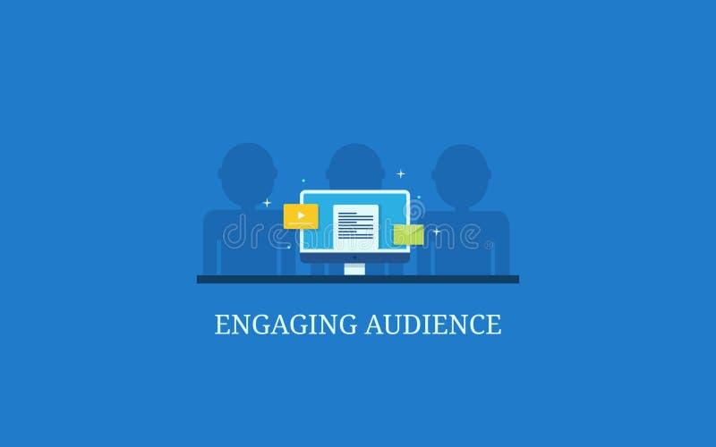 文本内容,网上录影,在显示器的个人化的电子邮件陈列观众订婚的 向量例证