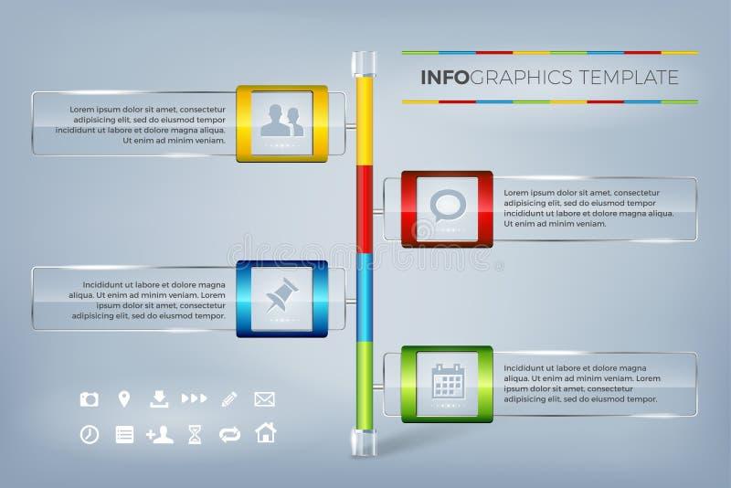 文本和象的信息图表玻璃框架 向量例证