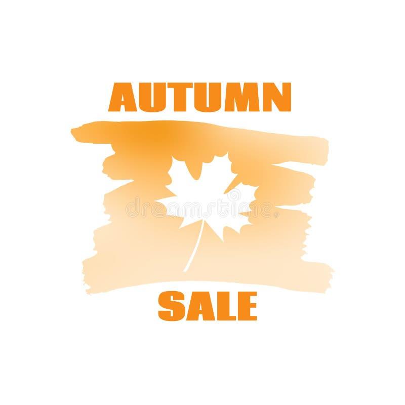 文本在叶子背景的秋天销售 库存例证