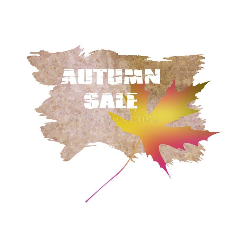 文本在叶子背景的秋天销售 向量例证