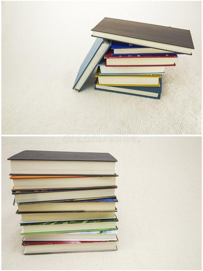 读文本布料背景拼贴画的被堆的书 免版税库存图片