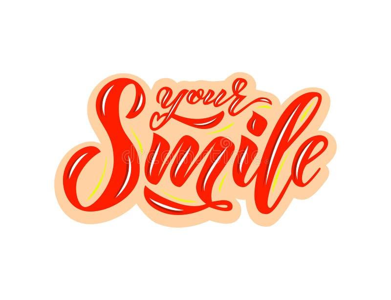 文本手字法您的微笑 启发词组 传染媒介字法 向量例证