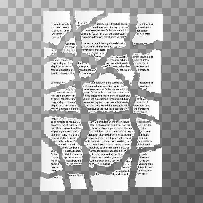 文本文件被撕毁的纸片断在透明背景的 皇族释放例证