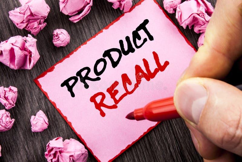 文本标志产品取消 回忆退款回归的企业概念书面的产品缺陷的Pin稠粘的便条纸折叠了Pap 库存照片