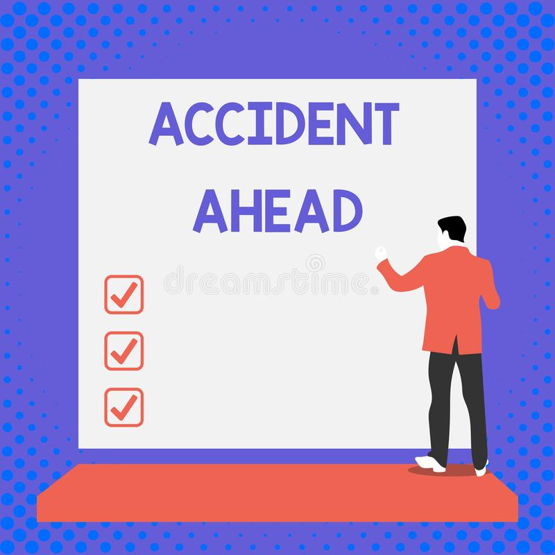 文本标志前面陈列事故 概念性照片不幸的事件是准备的改道避免年轻尾板的视图 库存例证