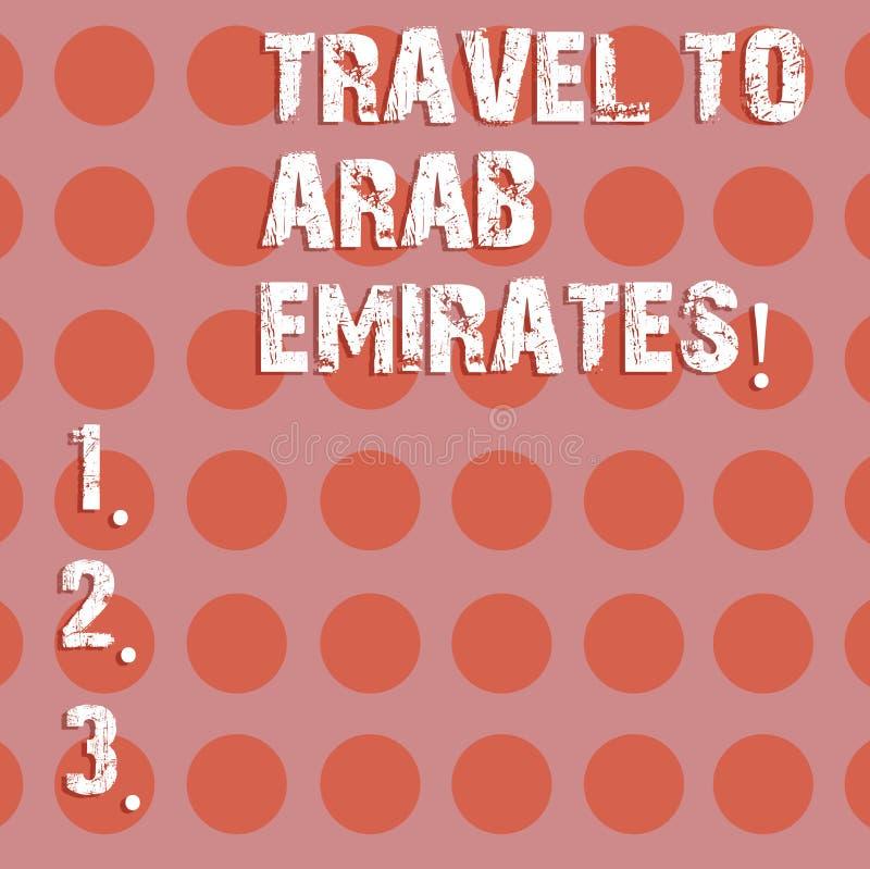 文本标志对阿拉伯酋长管辖区的陈列旅行 概念性照片有一次旅行到中东知道其他文化盘旋 库存例证