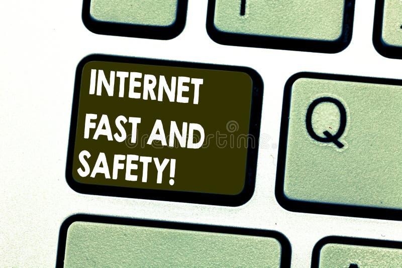 文本标志快速陈列的互联网和安全 概念性照片高速连接网上安全工具键盘键 免版税库存图片