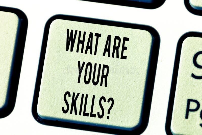 文本标志显示什么是您的Skillsquestion 概念性照片告诉我们您的能力知识经验键盘 免版税库存照片