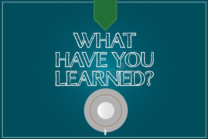 文本标志显示什么有您Learnedquestion 概念性照片告诉我们您的新知识经验咖啡杯茶碟顶视图 向量例证
