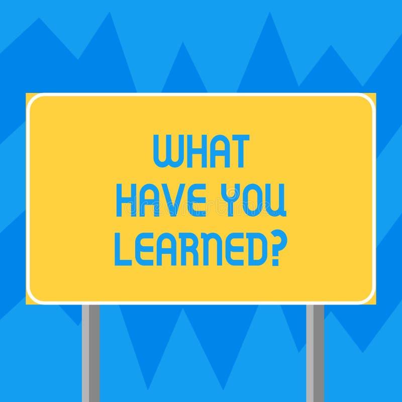 文本标志显示什么有您Learnedquestion 概念性照片告诉我们您的新知识经验空白 向量例证