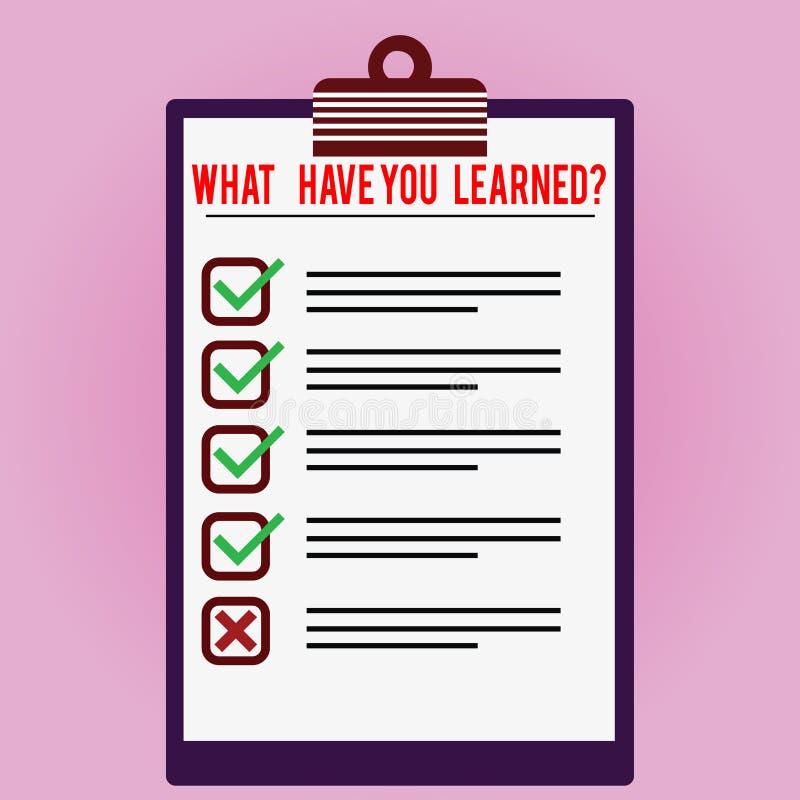 文本标志显示什么有您Learnedquestion 概念性照片告诉我们您的新知识经验被排行的颜色 向量例证