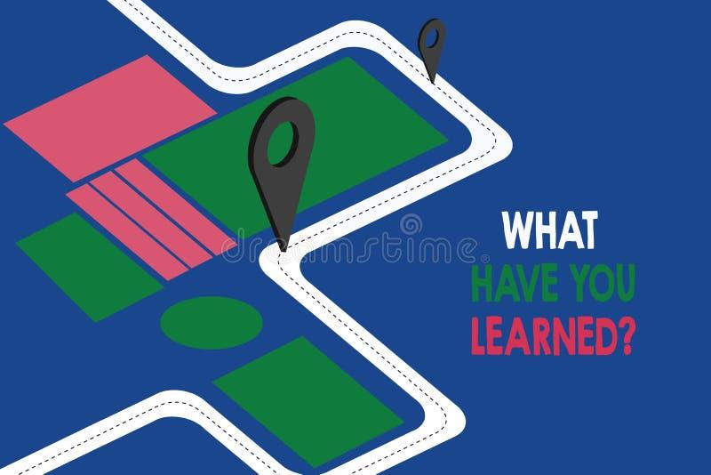 文本标志显示什么有您Learnedquestion 概念性照片告诉我们您的新知识经验路线图航海标志 皇族释放例证