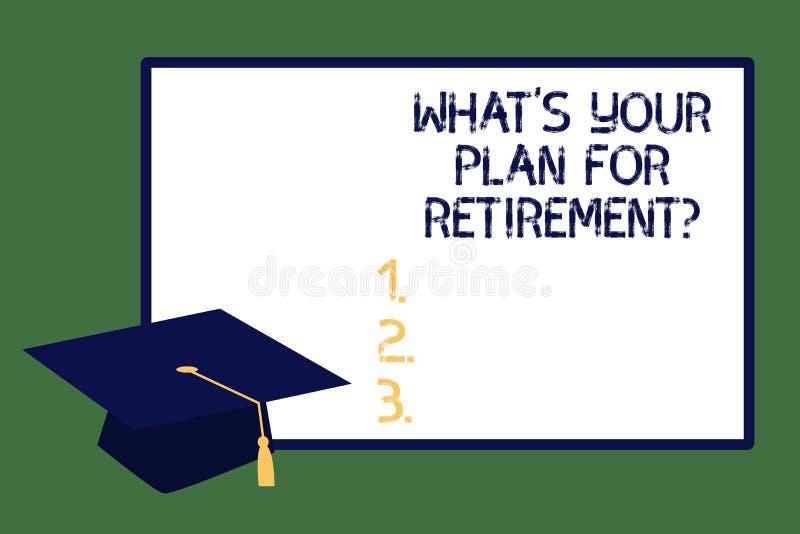 文本标志显示什么S是您的Retirementquestion的计划 未来年长毕业盖帽的概念性照片视觉与 免版税库存图片