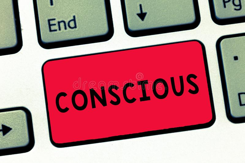文本标志显示神志清楚 明白和反应一个的概念性照片周围使用他的感觉键盘键 库存例证