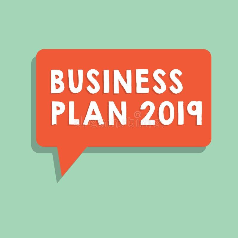 文本标志演艺界计划2019年 概念性照片富挑战性企业想法和目标新年 库存例证