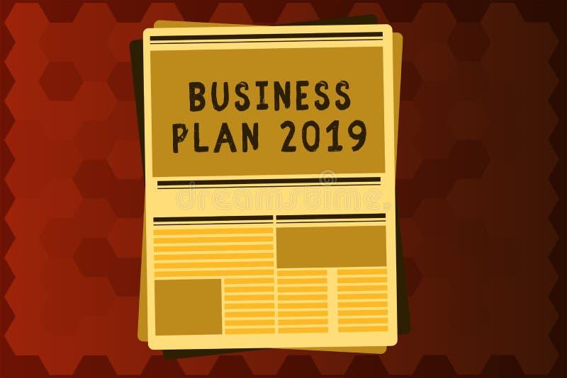 文本标志演艺界计划2019年 概念性照片富挑战性企业想法和目标新年 皇族释放例证