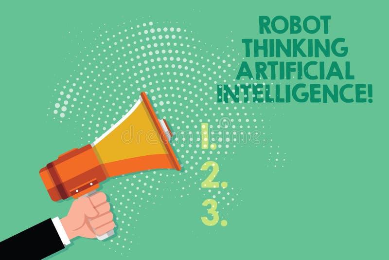 文本标志认为人工智能的陈列机器人 概念性照片AI现代未来派闲谈马胃蝇蛆男性胡分析手 库存例证