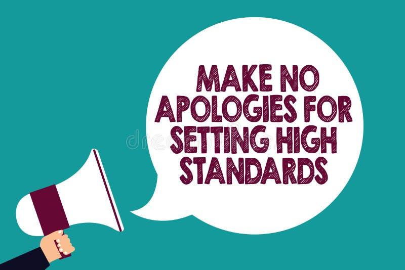 文本标志陈列不做出为规定高标准的道歉 概念性举行Megaphon的照片寻找的质量生产力人 向量例证