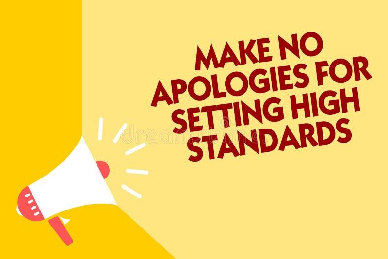 文本标志陈列不做出为规定高标准的道歉 概念性照片寻找的质量生产力扩音机loudspeake 皇族释放例证